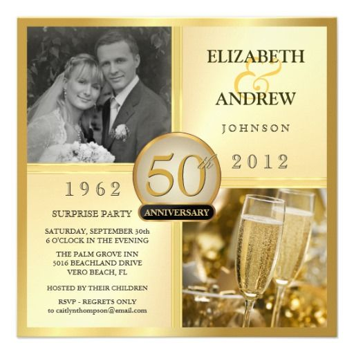 50th Golden Anniversary Surprise Party Invitations
