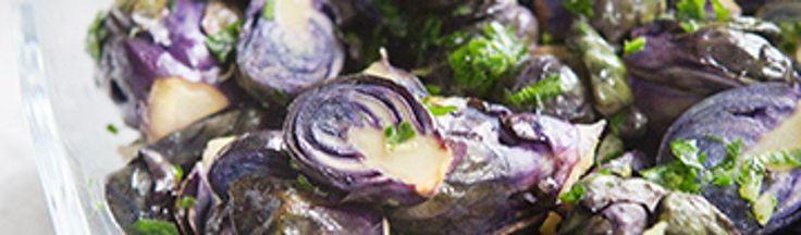 Geroosterde paarse spruiten met gremolata