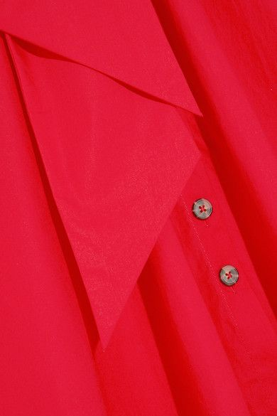 Saloni - Zoey Cutout Stretch-cotton Poplin Midi Dress - Red - UK16