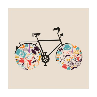 Vintage Hipsters Icons Bike Art Print at AllPosters.com