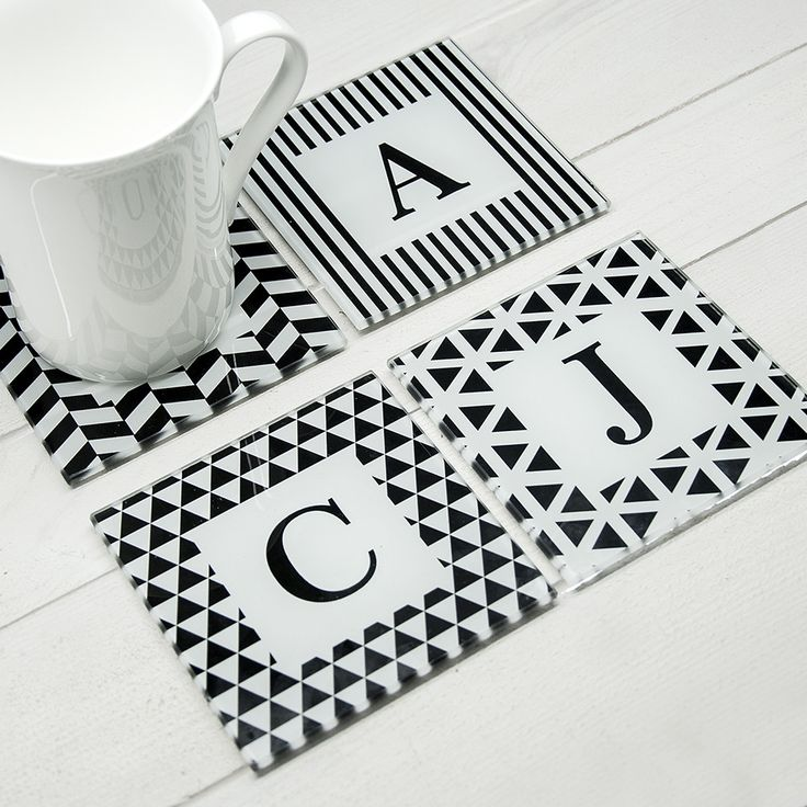 Set Of 4 Glass Black & White Coasters