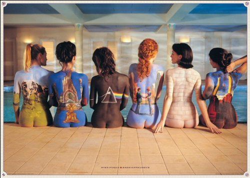 Obviously, this is a poster representing each of Pink Floyd's albums as they have been painted on women's backs as they sit on the edge of an indoor pool. This art direction is SOLID. I love the idea behind combining body paint and album covers! So clever and so appealing.
