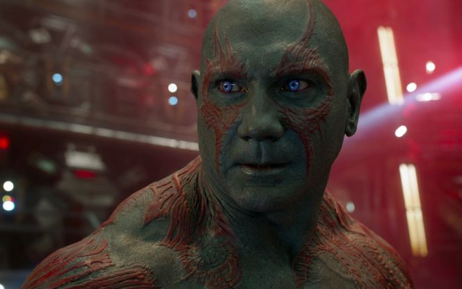 Dave Bautista as Drax the Destroyer in Guardians of the Galaxy Vol. 2. Image via Marvel Cinematic Universe Wiki | onetakekate.com