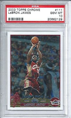 cool 2003 Topps Chrome Basketball #111 Lebron James Rookie Card PSA 10 - For Sale