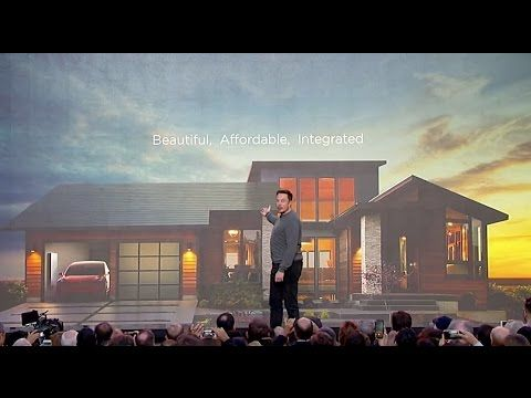 Elon Musk unveils Solar Roo (2016.10.28) During a press event at Universal Studios in L.A. Elon Musk announces that Tesla will build and sell its own line of solar panels with integrated batteries. Coupled with the also unveiled PowerWall 2 it will allow residential homeowners to replace their entire roof with solar panels making it much simpler for homes to be entirely powered by solar power. Overview: 00:00. Why solar 04:02. PowerWall 2 introduction 06:40. Solar roof introduction Date…