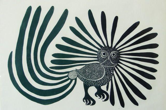 Kenojuak Ashevak, Enchanted Owl (green tail), 1960