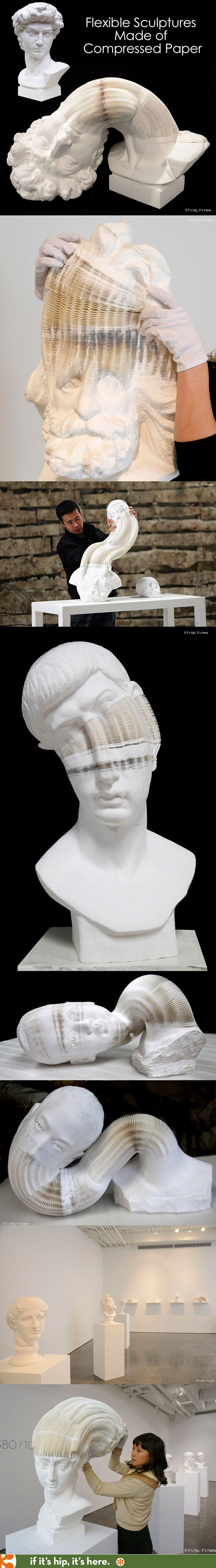 What look like classical Greek carved marble busts are actually thousands of pieces of compressed paper applied with glue in a honeycomb-like structure turning them into flexible, slinky-like pieces of art. | http://www.ifitshipitshere.com/paper-sculptures-by-li-hongbo/