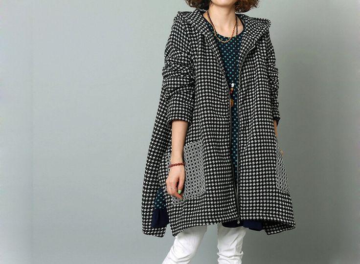 Giacche invernali - Le donne inverno cappotto nero con cappuccio -221 - un prodotto unico di MissJuan su DaWanda