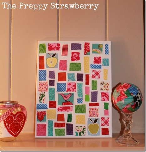 The Preppy Strawberry | No Sew Wall Quilt (on canvas)