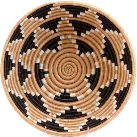 African Basket - Rwanda Sisal Coil Weave Bowl - 12 Inches Across - #33822