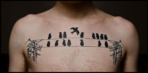 Birds on a wire #chestpiece #birdsBirds Tattoo, Chest Tattoo, Body Art, Chesttattoo, Funny Tattoo, A Tattoo, New Tattoo, Tattoo Bird, The Wire