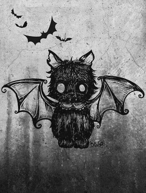 Ideia de tatuagem - gato vampiro