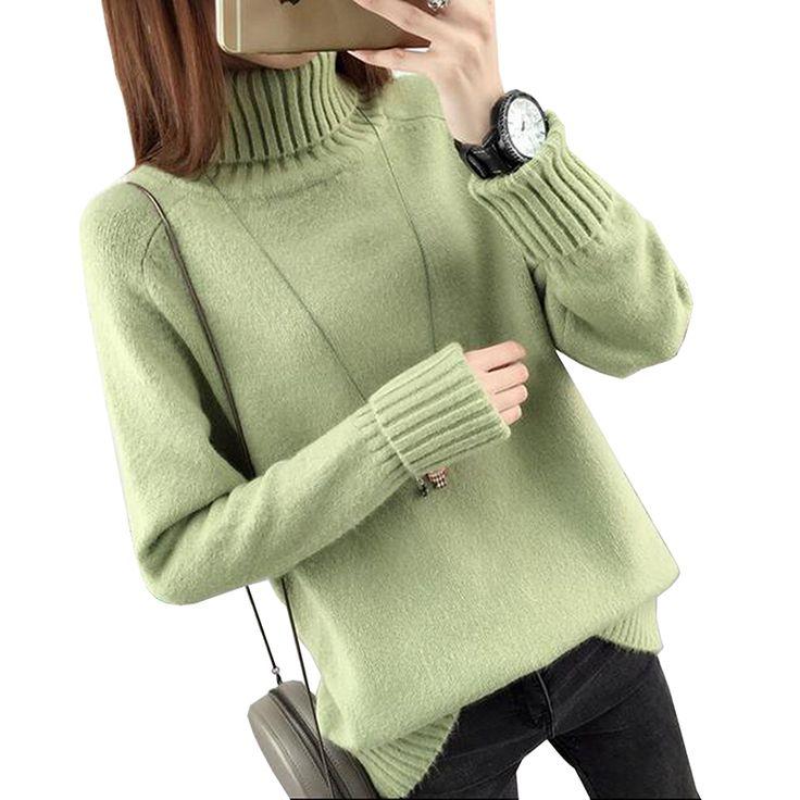 Otoño Invierno Mujer Suéter de Cuello Alto 2017 Nuevo Diseño Verde Gruesa Mujeres Tricot Suéter Y Suéter Mujer Jumper Tops LU405