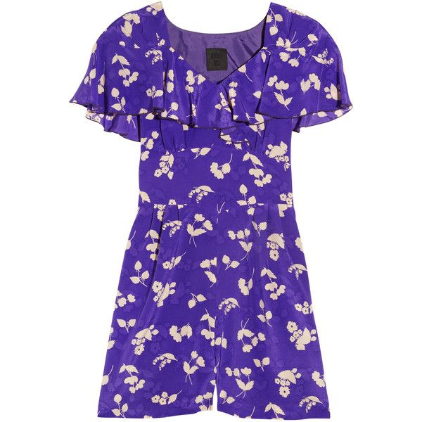 Anna Sui Floral-print silk crepe de chine playsuit (2,815 MXN) ❤ liked on Polyvore featuring jumpsuits, rompers, dresses, romper, purple, playsuit, anna sui, open back rompers, silk romper and playsuit romper