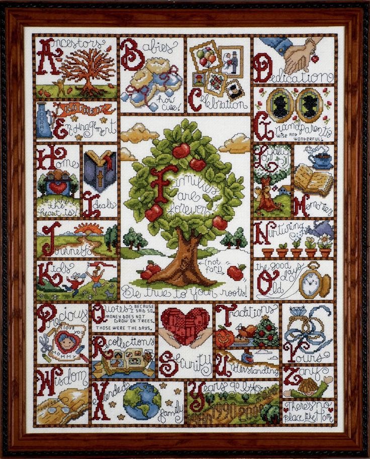 {Look at the traditions square!} Tobin 14 Count Families ABC Counted Cross Stitch Kit, 16 by 20-Inch