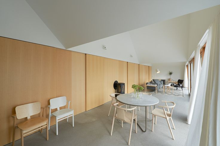 House Design Connected to Natural Landscape: Summerhouse Lagnö : Home Interior Environment Under White Scheme And Wooden Wall