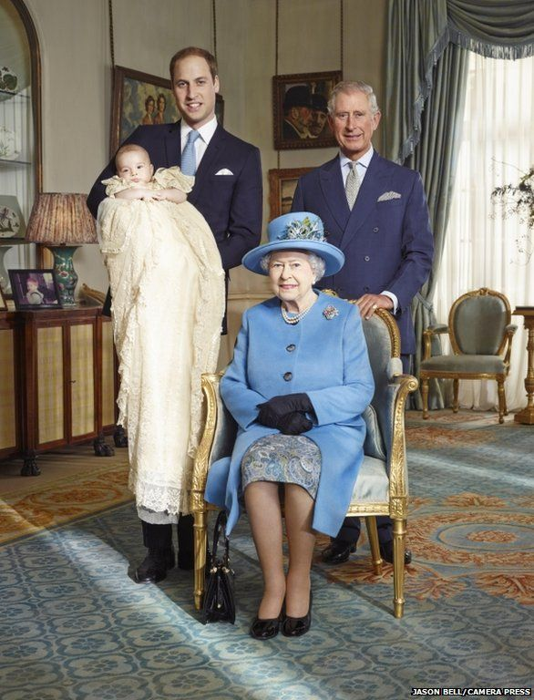 The Queen has been pictured with three future kings - the first such image of royal succession for nearly 120 years (the last was Victoria, Edwards VII and VIII and George V).  Future kings Charles, William and George, if they all make it.  By Jason Bell, to celebrate George's christening, 2013.