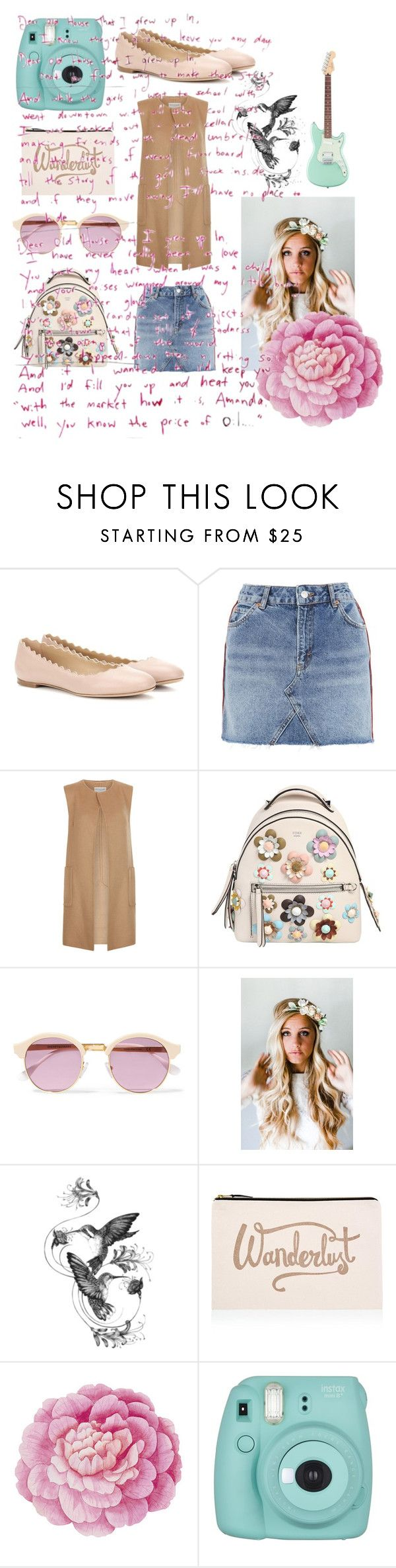 """""""Wanderer"""" by princesscadence7 ❤ liked on Polyvore featuring Chloé, Topshop, Monsoon, Fendi, Sheriff&Cherry, Emily Rose Flower Crowns, Emily Carter, ALPHABET BAGS, Ballard Designs and Fujifilm"""