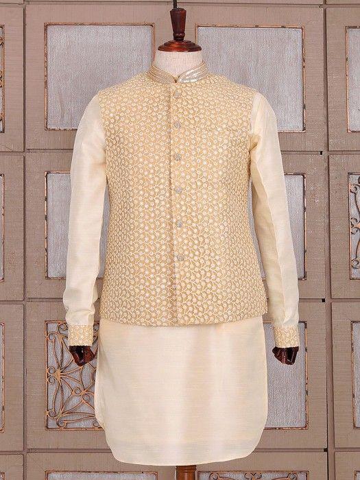 Cream Classy Silk Waistcoat Set, indo western for men