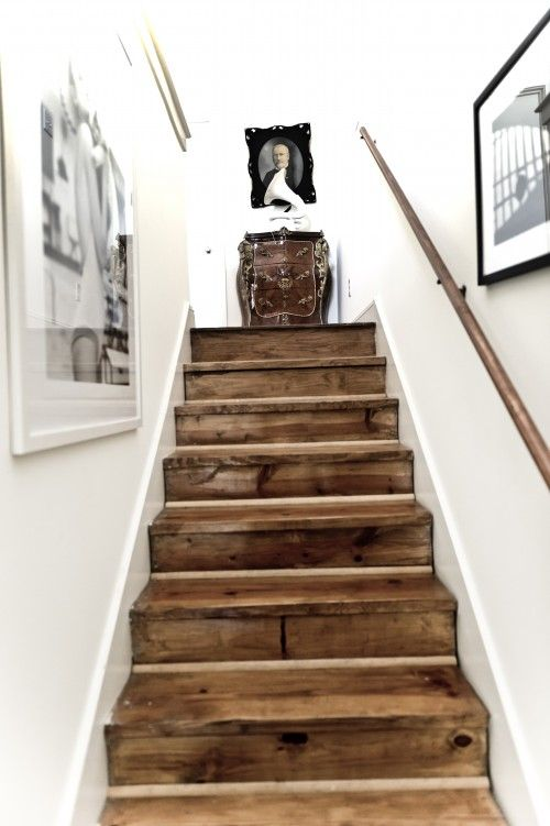 Rustic Reclaimed Wood Stairs | houzz.com: Barns Woods, Woods Stairs, Rustic Stairs, Barns Boards, Basements Stairs, Old Wood, Rustic Wood, White Wall, Wooden Stairs