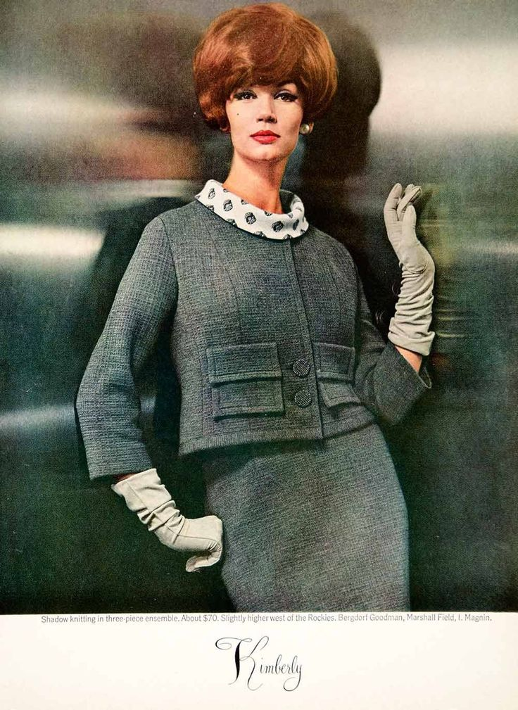 1962 Ad Vintage Kimberly Knit Three-Piece Suit Gloves 60s Fashion YMMA1