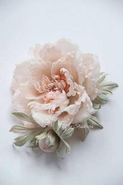 "Купить Пион ""Соната"" - бледно-розовый, пион из шелка, пион из ткани, пион, цветок из шелка"