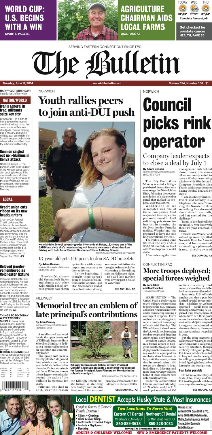Tuesday, June 17, 2014 - Subscribe to The Bulletin today: http://www.norwichbulletin.com/subscribenow #ctnews #newlondoncounty #windhamcounty