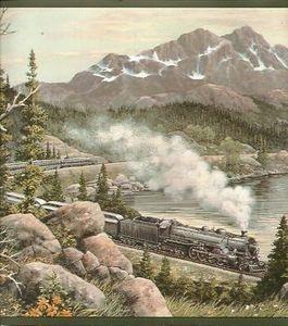 Train Elk Eagle Mountain Wallpaper Border