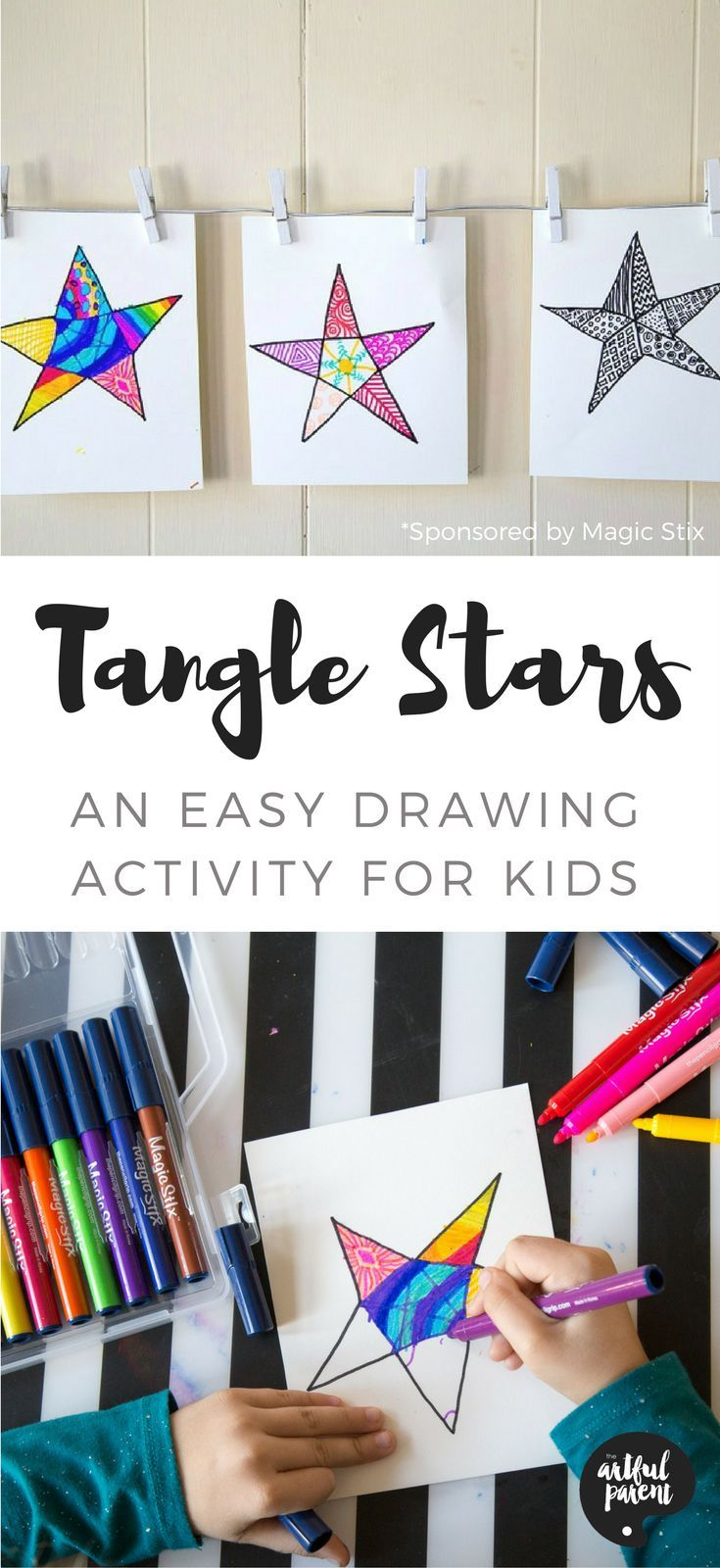 We used magic stix to make tangle stars, a fun and easy drawing activity for kids. Here's a tangle star printable activity & a review of Magic Stix markers.