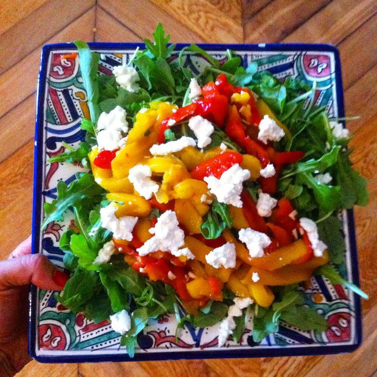 Rocket salad with rosted capsicum & ricotta #fatfree #glutenfree #healthybuttasty #cleaneating
