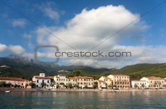 Stock photo available for sale at Crestock: Picturesque view of the small marina of Marciana, Elba Island, Italy.