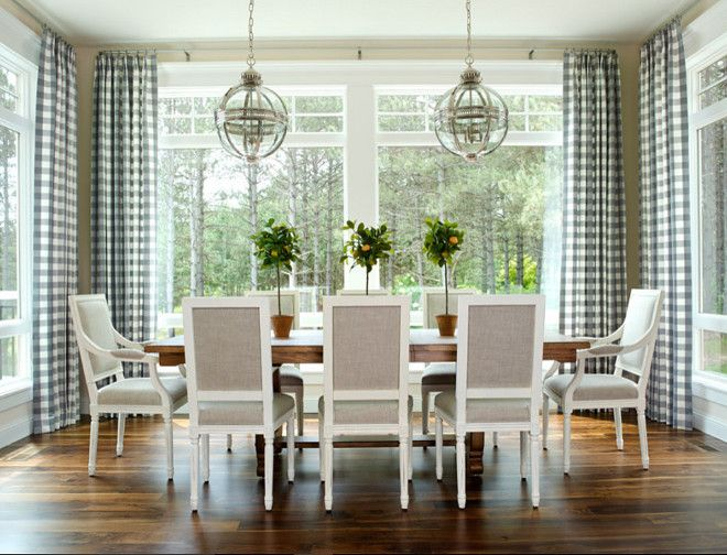 Gray Checkered Gingham Fabric, Dining room draperies in Gray Checkered Gingham Fabric #GrayCheckeredGinghamFabric #GrayCheckeredFabric #GrayGinghamFabric