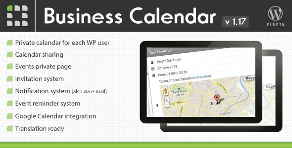 Business Calendar - Wordpress Internal Calendar   http://codecanyon.net/item/business-calendar-wordpress-internal-calendar/2578840?ref=damiamio        	 Power up your wordpress website creating a full featured calendar for each Wordpress user. Cooperating with other users has never be so simple. Transforms wordpress in a real working platform: create your calendar, share it with other users and invite them to your events. Everything is simple and just need few clicks.  	 Check your events…