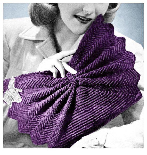1940s Fan Shape Purse Crocheted Clutch Handbag by 2ndlookvintage, $3.00