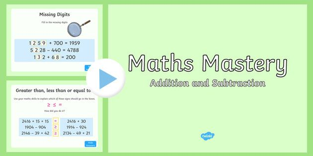 Maths Mastery Activities Year 4 Addition and Subtraction PowerPoint