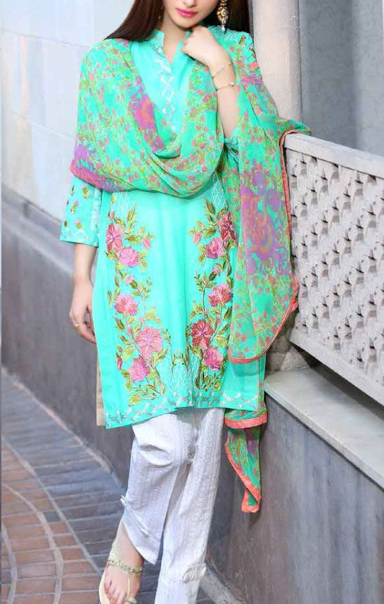 Buy Sea Green Embroidered Swiss Lawn Dress by Charizma 2016