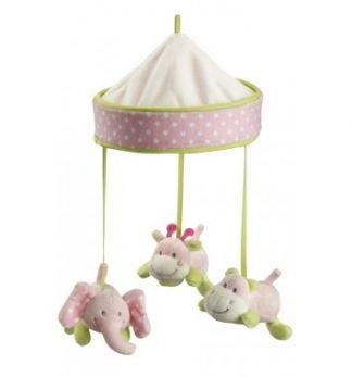 kids concept pumpkin mobil med tre söta djur i plysch. Passar bra att hänga över barnets säng eller över skötbordet