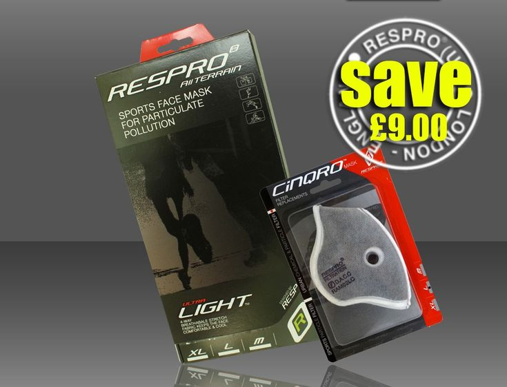 SAVE £9 - The Respro® Ultralight™ Mask Combo option comes with a pack of Cinqro™ Urban filters which can subsequently be fitted and will provide a broader spectrum of filtration to include gases an vapours associated with vehicle exhaust emissions. http://respro.com/store/product/ultralight-mask-plus-urban-filter-combo