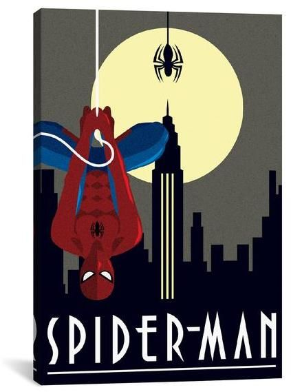 Marvel Comics SPIDER-MAN minimalistic.   Great Art Deserves to be on Canvas! Unlike cheap posters and paper prints that require additional framing, Giclée canvas artwork offers the texture, look and feel of fine-art paintings. https://api.shopstyle.com/action/apiVisitRetailer?id=537924932&pid=uid8100-34415590-43