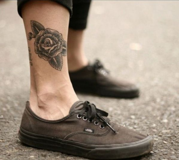 Flower Ankle Tattoos Rose Mens Ideas Ankle Tattoo Men Tattoos For Guys Leg Tattoo Men