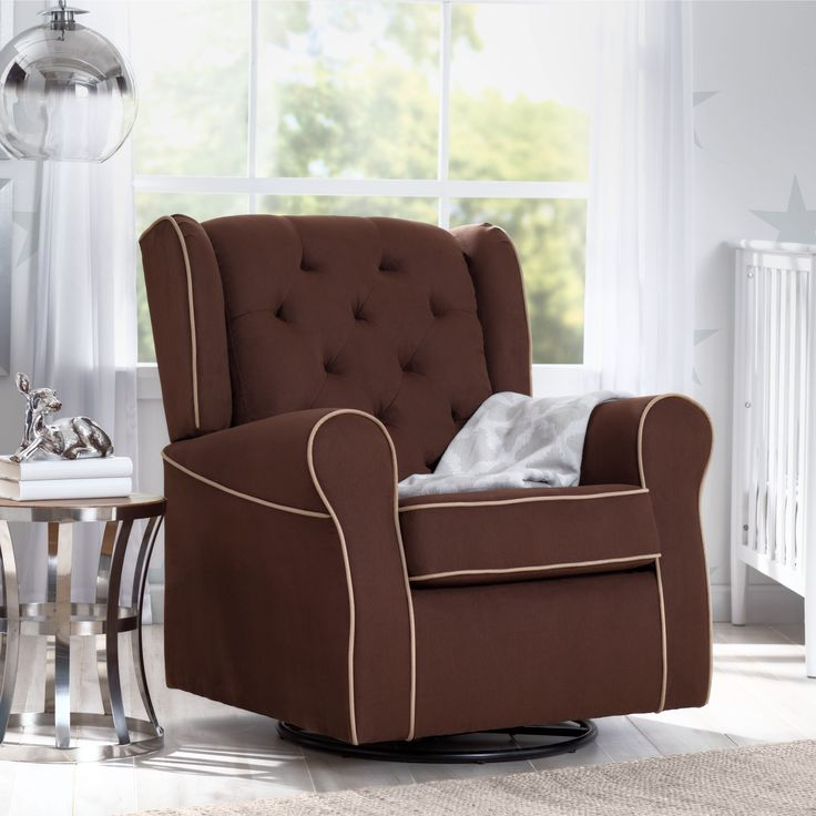 Delta Children Emerson Nursery Glider Swivel Rocker Chair, Cocoa with Beige Welt (Cocoa & Beige) (MDF)
