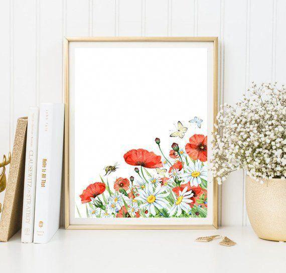 Poppy Garden Poppy Wall Art Red Art Print Flower Wall Decor