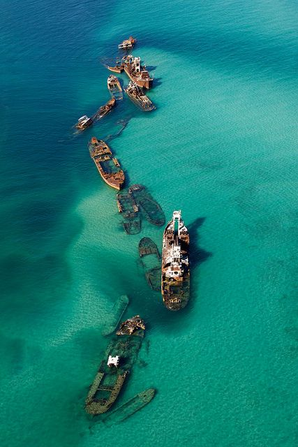 Tangalooma Wrecks for diving and fishing, Moreton Bay, Australia.