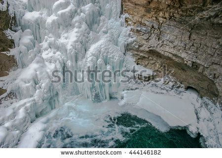 Frozen Johnston Canyon Waterfalls, Alberta, Canada.
