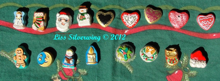 first part of the christmas ornaments im preparing for you this year. in total there gonna be 26 different shapes but each set will be different in colors.. they are fairly small and very colorful  (approx 1 inch) and they are all handpainted by me.