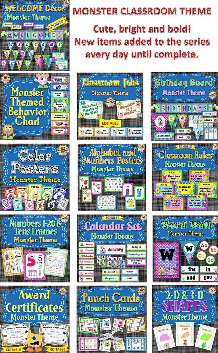 MONSTERS!  All kids love them.  If you are looking for a monster classroom theme, look no further!  This series will have everything you need to have an organized and visually appealing classroom!