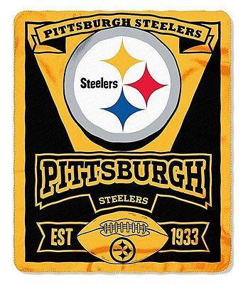 "50""x60"" Pittsburgh Steelers Marque Officially Licensed NFL Fleece Blanket Throw"