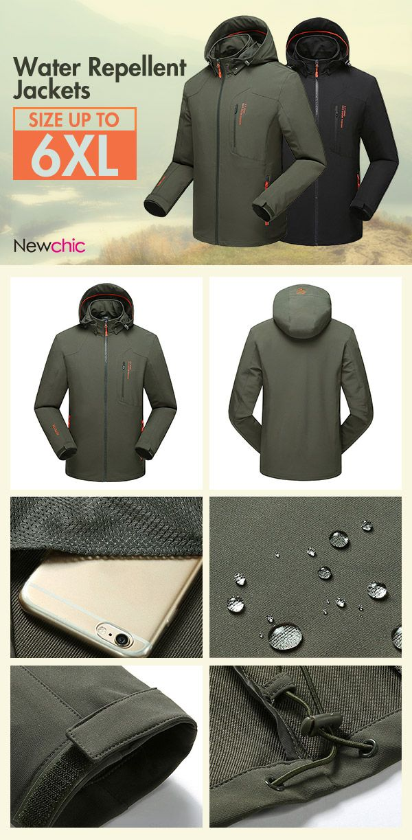 US$44.89#6XL Plus Size Super Water Resistant Quickly Dry Outdoor Climbing Anti Wind Jacket for Men