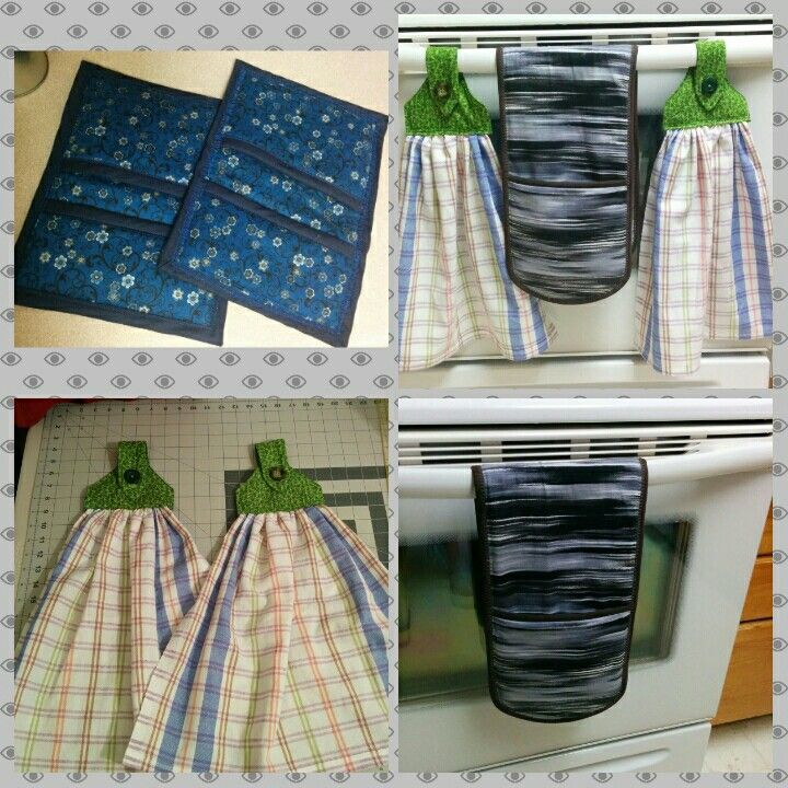 Double sided oven mitt, pot holders, and hanging tea towels.  DIY things for the kitchen.