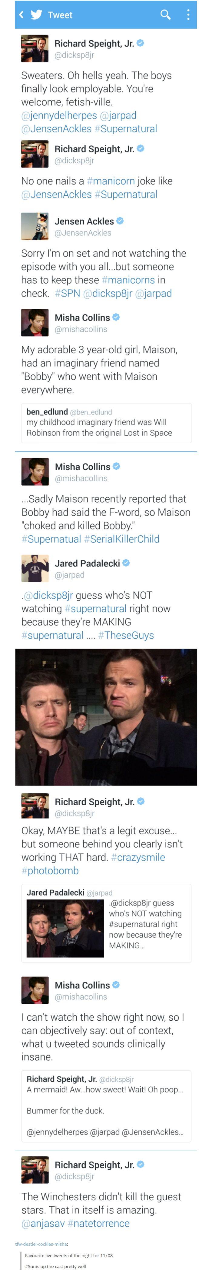11x08 Just My Imagination - tweets from Richard Speight Jr, Jensen, Misha & Jared; Supernatural